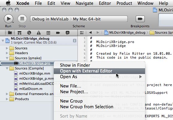 5 3  Creating an Xcode project from a  pro file